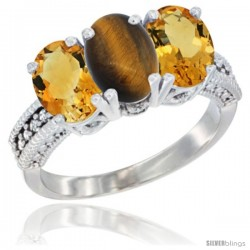 14K White Gold Natural Tiger Eye & Citrine Sides Ring 3-Stone 7x5 mm Oval Diamond Accent