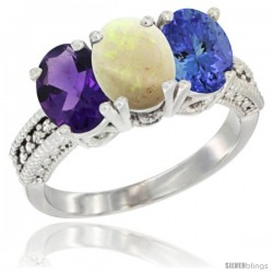 14K White Gold Natural Amethyst, Opal & Tanzanite Ring 3-Stone 7x5 mm Oval Diamond Accent