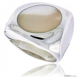 "Sterling Silver Ladies' Ring w/ an Oval-shaped Mother of Pearl, 13/16"" (20 mm) wide"