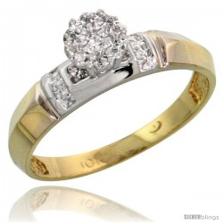 10k Yellow Gold Diamond Engagement Ring 0.05 cttw Brilliant Cut, 5/32 in wide -Style 10y022er