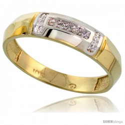 10k Yellow Gold Mens Diamond Wedding Band Ring 0.03 cttw Brilliant Cut, 7/32 in wide
