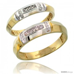 10k Yellow Gold Diamond Wedding Rings 2-Piece set for him 5.5 mm & Her 4 mm 0.05 cttw Brilliant Cut