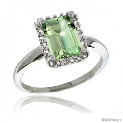 Sterling Silver Diamond Green-Amethyst Ring 1.6 ct Emerald Shape 8x6 mm, 1/2 in wide