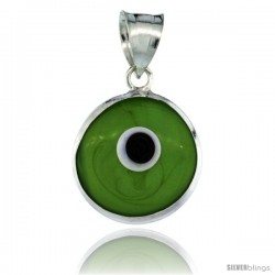 Sterling Silver Apple Green Color Evil Eye Pendant, 5/8 in wide