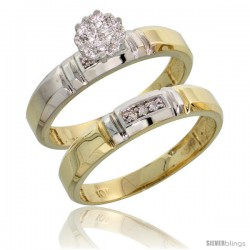 10k Yellow Gold Diamond Engagement Rings Set 2-Piece 0.07 cttw Brilliant Cut, 5/32 in wide -Style 10y023e2
