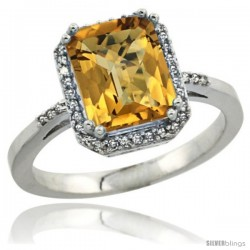 Sterling Silver Diamond Natural whisky Quartz Ring 2.53 ct Emerald Shape 9x7 mm, 1/2 in wide