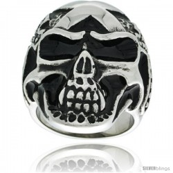 Surgical Steel Biker Skull Ring w/ Crosses