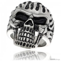 Surgical Steel Biker Skull Ring on Flames