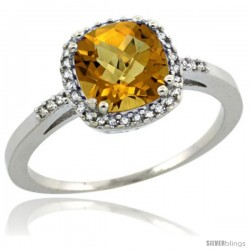 Sterling Silver Diamond Natural whisky Quartz Ring 1.5 ct Checkerboard Cut Cushion Shape 7 mm, 3/8 in wide