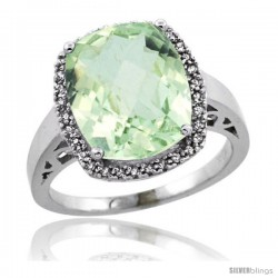 Sterling Silver Diamond Natural Green Amethyst Ring Ring 5.17 ct Checkerboard Cut Cushion 12x10 mm, 1/2 in wide
