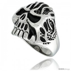 Surgical Steel Biker Skull Ring w/ Tribal Tattoos