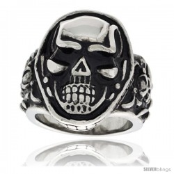 Surgical Steel Biker Signet Ring Skull on Top and Sides