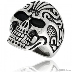 Surgical Steel Biker Ring Vampire Skull w/ Tribal Tattoos