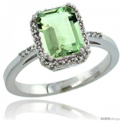 14k White Gold Diamond Green-Amethyst Ring 1.6 ct Emerald Shape 8x6 mm, 1/2 in wide -Style Cw402129