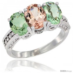 14K White Gold Natural Morganite & Green Amethyst Sides Ring 3-Stone 7x5 mm Oval Diamond Accent