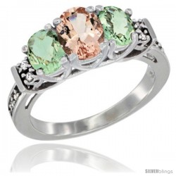 14K White Gold Natural Morganite & Green Amethyst Ring 3-Stone Oval with Diamond Accent