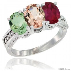 14K White Gold Natural Green Amethyst, Morganite & Ruby Ring 3-Stone 7x5 mm Oval Diamond Accent