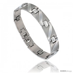 Stainless Steel Men's Zig Zag Bar Bracelet, 8 3/4 in