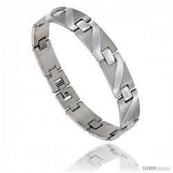 Stainless Steel Men's Zig Zag Bar Bracelet, 8 3/4 in