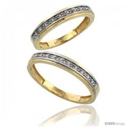 14k Gold 2-Piece His (4mm) & Hers (4mm) Diamond Wedding Band Set, w/ 0.16 Carat Brilliant Cut Diamonds