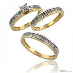 14k Gold 3-Piece Trio His (4mm) & Hers (4mm) Diamond Wedding Band Set, w/ 0.29 Carat Brilliant Cut Diamonds