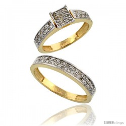 14k Gold 2-Piece Diamond Ring Set ( Engagement Ring & Man's Wedding Band ), w/ 0.24 Carat Brilliant Cut Diamonds, 5/32 in