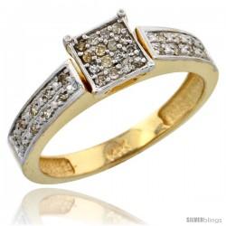 14k Gold Diamond Engagement Ring, w/ 0.14 Carat Brilliant Cut Diamonds, 5/32 in. (4mm) wide