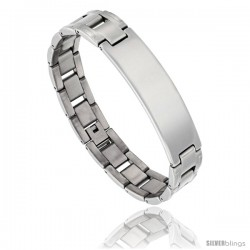 Stainless Steel Men's H-Link ID Bar Bracelet, 1/2 in wide, 8 in