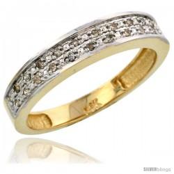 14k Gold Ladies' Diamond Band, w/ 0.10 Carat Brilliant Cut Diamonds, 5/32 in. (4mm) wide