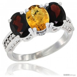 14K White Gold Natural Whisky Quartz & Garnet Sides Ring 3-Stone 7x5 mm Oval Diamond Accent