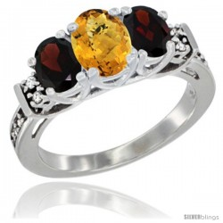 14K White Gold Natural Whisky Quartz & Garnet Ring 3-Stone Oval with Diamond Accent