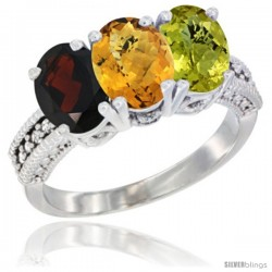 14K White Gold Natural Garnet, Whisky Quartz & Lemon Quartz Ring 3-Stone 7x5 mm Oval Diamond Accent