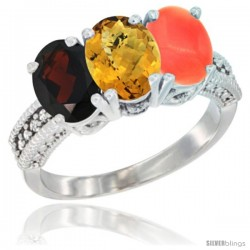 14K White Gold Natural Garnet, Whisky Quartz & Coral Ring 3-Stone 7x5 mm Oval Diamond Accent