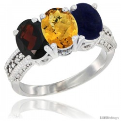 14K White Gold Natural Garnet, Whisky Quartz & Lapis Ring 3-Stone 7x5 mm Oval Diamond Accent