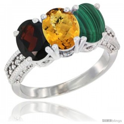 14K White Gold Natural Garnet, Whisky Quartz & Malachite Ring 3-Stone 7x5 mm Oval Diamond Accent