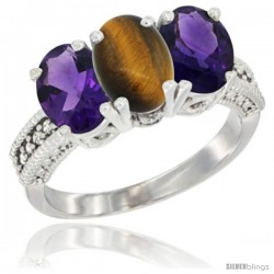 14K White Gold Natural Tiger Eye & Amethyst Ring 3-Stone 7x5 mm Oval Diamond Accent