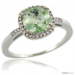 Sterling Silver Diamond Natural Green Amethyst Ring Ring 1.5 ct Checkerboard Cut Cushion Shape 7 mm, 3/8 in wide