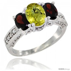 14k White Gold Ladies Oval Natural Lemon Quartz 3-Stone Ring with Garnet Sides Diamond Accent