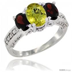 14k White Gold Ladies Oval Natural Lemon Quartz 3-Stone Ring with Garnet Sides Diamond Accent