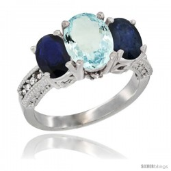 10K White Gold Ladies Natural Aquamarine Oval 3 Stone Ring with Blue Sapphire Sides Diamond Accent