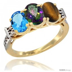 10K Yellow Gold Natural Swiss Blue Topaz, Mystic Topaz & Tiger Eye Ring 3-Stone Oval 7x5 mm Diamond Accent