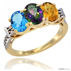 10K Yellow Gold Natural Swiss Blue Topaz, Mystic Topaz & Whisky Quartz Ring 3-Stone Oval 7x5 mm Diamond Accent