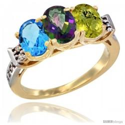 10K Yellow Gold Natural Swiss Blue Topaz, Mystic Topaz & Lemon Quartz Ring 3-Stone Oval 7x5 mm Diamond Accent