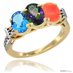 10K Yellow Gold Natural Swiss Blue Topaz, Mystic Topaz & Coral Ring 3-Stone Oval 7x5 mm Diamond Accent
