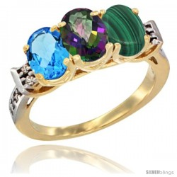 10K Yellow Gold Natural Swiss Blue Topaz, Mystic Topaz & Malachite Ring 3-Stone Oval 7x5 mm Diamond Accent