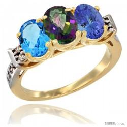 10K Yellow Gold Natural Swiss Blue Topaz, Mystic Topaz & Tanzanite Ring 3-Stone Oval 7x5 mm Diamond Accent