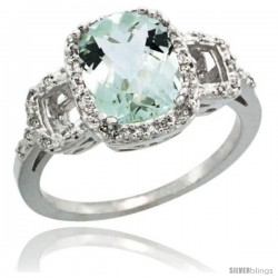 Sterling Silver Diamond Natural Green Amethyst Ring Ring 2 ct Checkerboard Cut Cushion Shape 9x7 mm, 1/2 in wide