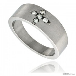 Surgical Steel 5-stone CZ Cross Ring 8mm Wedding Band