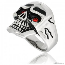 Surgical Steel Biker Skull Ring w/ Red CZ Eyes Cracks on the Sides
