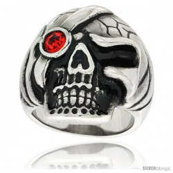 Surgical Steel Biker Skull Ring w/ Red CZ Eye patch
